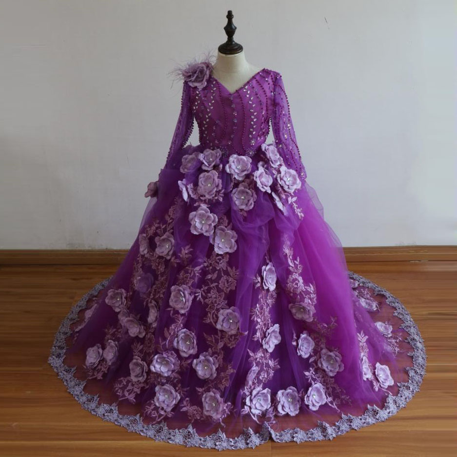 Purple   Flower     Girls     Dresses   For Weddings robe fille Handmade   Flowers   Lace   Girls   Pageant Gowns Long Custom Made Kids Party Gown