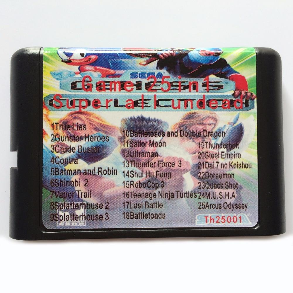 Hot Sale 25 In 1 Game Card For 16 bit Sega Mega Drive / Genesis