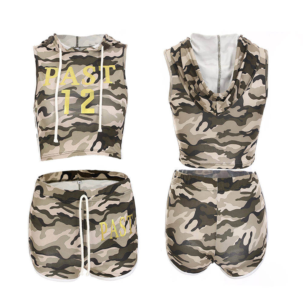 56621b8658cc5 Hooded drawstring shorts sports suit, camouflage letter print home leisure sports  running sportwear suit.