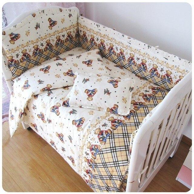 Акция! 6 ШТ. Медведь Baby Bedding Set 100% Хлопок Вышивка Детские Кровати (бампер + лист + наволочка)