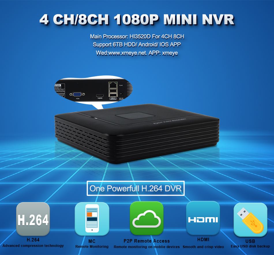 1XQ-4CH 8CH Network Video Recorder 1004F 1008F