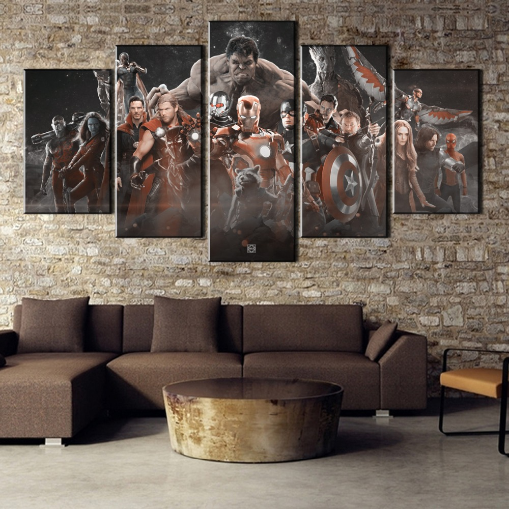 5 Pieces Canvas Art Avengers Infinity War Movie Modern Decorative Paintings on Canvas Wall Art for Home Decorations Wall Decor