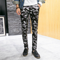 2017 New Design Men's Leather Pants Casual Skinny Men Trouser Male Camouflage Cargo Pants