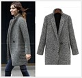 Autumn/Winter New Fashion Women Woolen cloth coat A button Long-sleeve Medium long Coat Houndstooth Loose Big yards Coat SJ754
