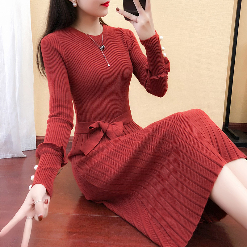 338ec7f83f ... 2018 Autumn Winter Women Long Sweater Dress Bow Sashes Beading Knitted  Dresses Ladies Long Sleeve Pleated ...