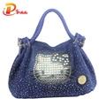 Denim de alta Qualidade Sacos de Bolsas de Marcas Famosas Mulheres Saco Gatinho Ombro Com Diamantes de Cristal Senhoras Bolsa bolsa feminina