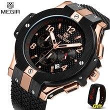 Хронограф megir спортивные часы для мужчин творческий большой циферблат Кварцевые часы для военных часы для мужчин наручные час Relogio Masculino