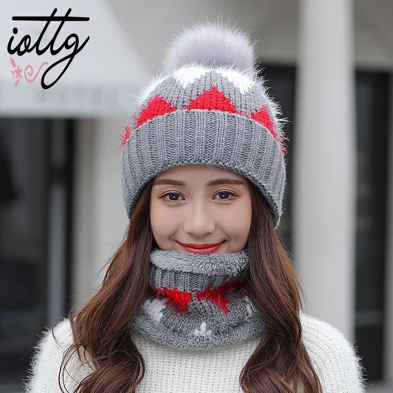 IOTTG Winter Fur Pompom Knitted Hat Women Scarf Cap Mask Gorras Bonnet Warm Winter Hat For Girls   Skullies     Beanies   Hats