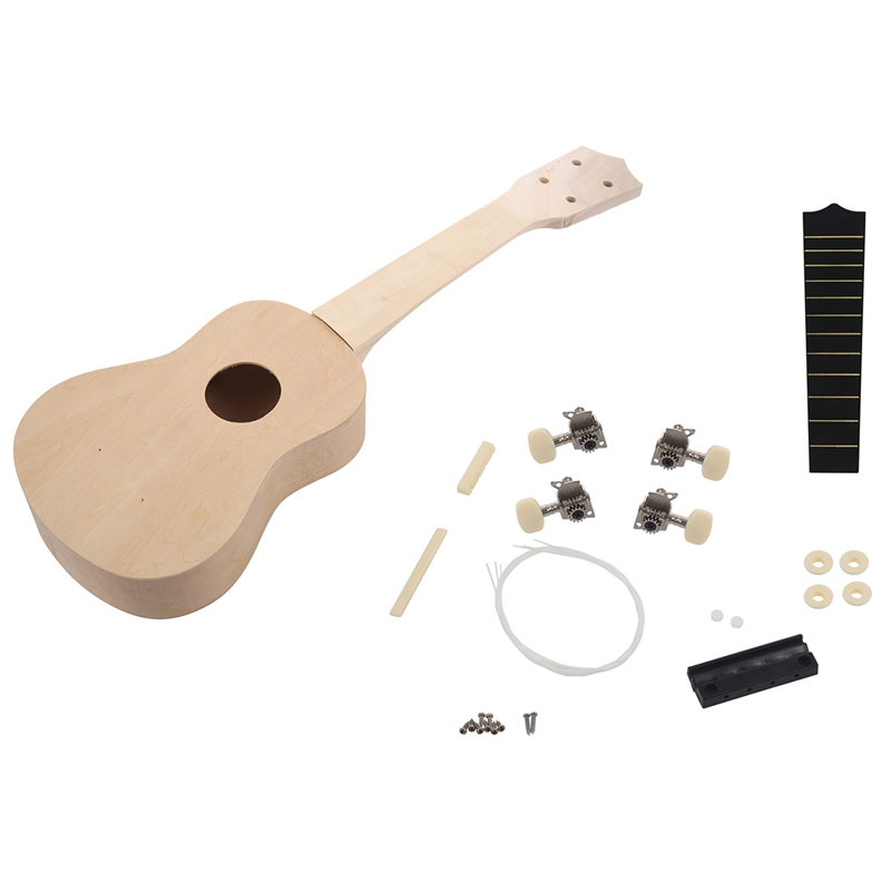 21inch White Wooden Ukulele Soprano Hawaiian Guitar Uke Kit Musical Instrument DIY                                            #8