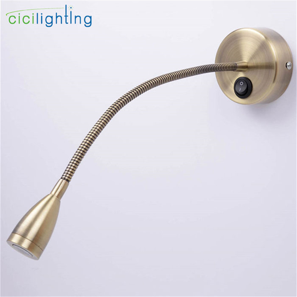 Led Vintage Bronze lâmpada de cabeceira lâmpada de leitura lâmpada de parede led iluminação da mangueira de encanamento