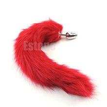 New Romance 38cm Long Red Fox Tail Butt Metal Anal Plug Sex Toy New Arrival red fox футболка amplitude ls мужская 48 9100 т синий w 17 18