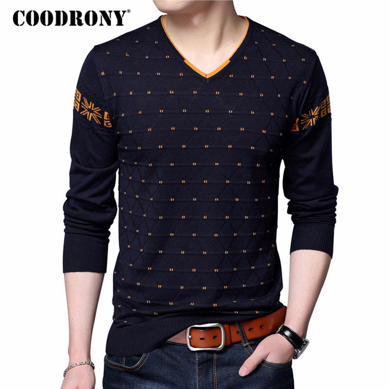 COODRONY Mens Sweaters Wool Pullover Men Brand Clothing Casual V-Neck Sweater Men Dot Pattern Long Sleeve Cotton Shirt Male 7131