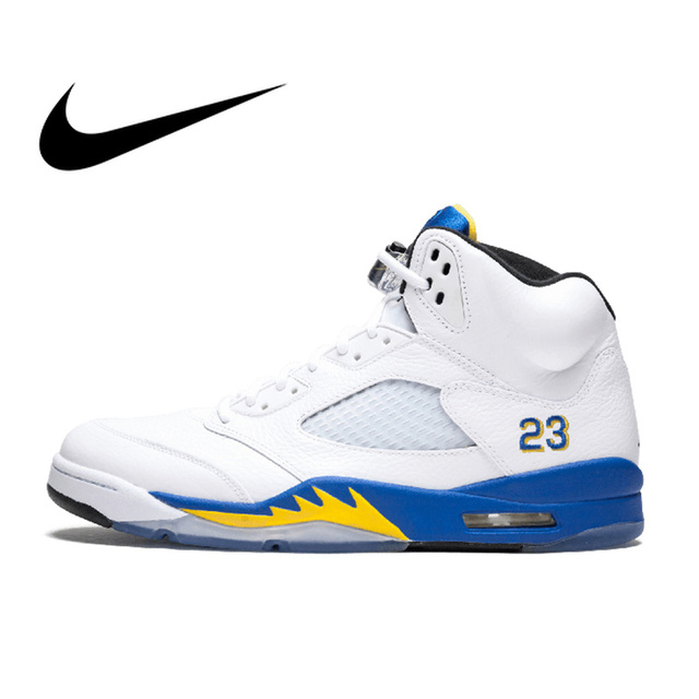 new arrival 1b2d6 7786d Original Authentic Nike Air Jordan 5 Retro Laney Men s Breathable  Basketball Shoes Sport Outdoor Sneakers 2018