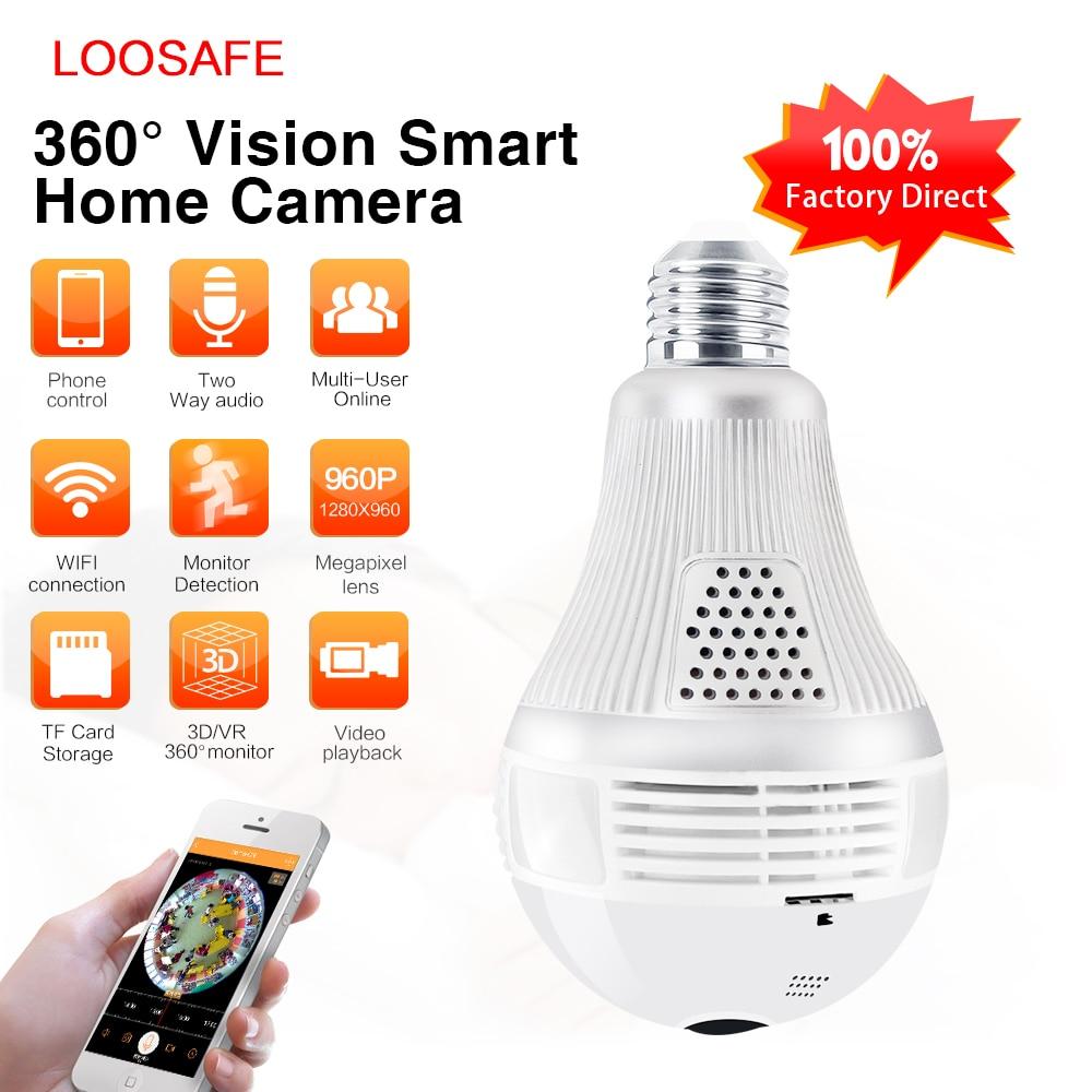 LOOSAFE 960P Wifi CCTV IP Camera 360 Wifi Wireless Night Vision Light Bulb Fisheye Panoramic Surveillance Security CCTV Camera