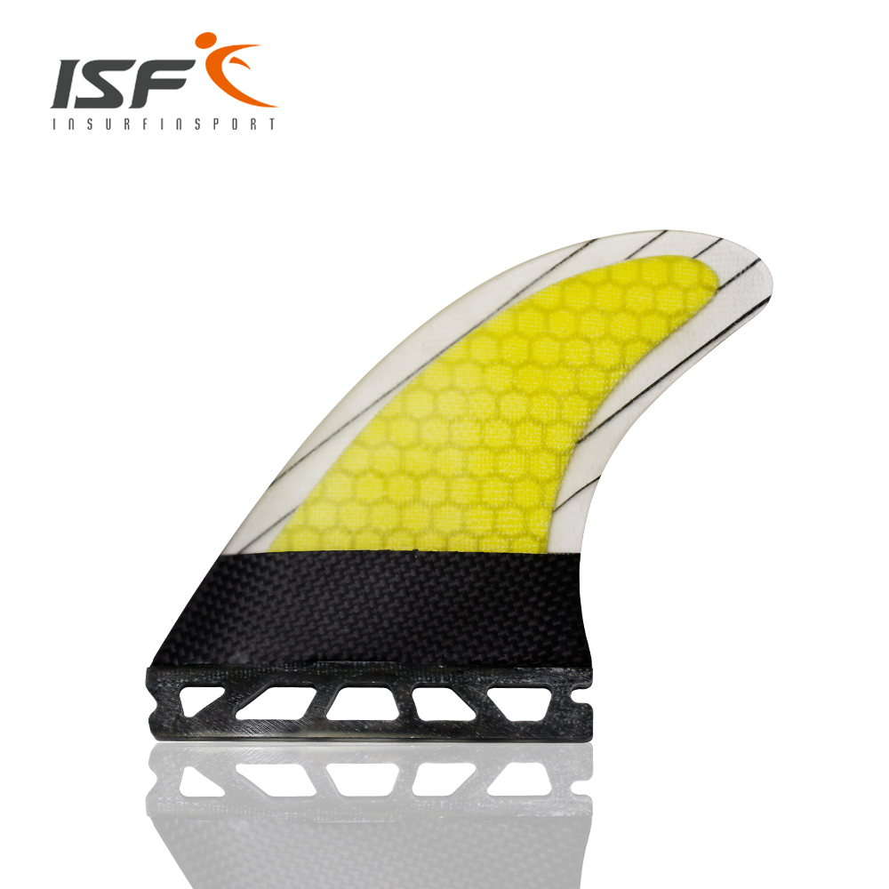 New Design Thruster Future Fiberglass Carbon Yellow strip Surf Fin G7 fin Set 3
