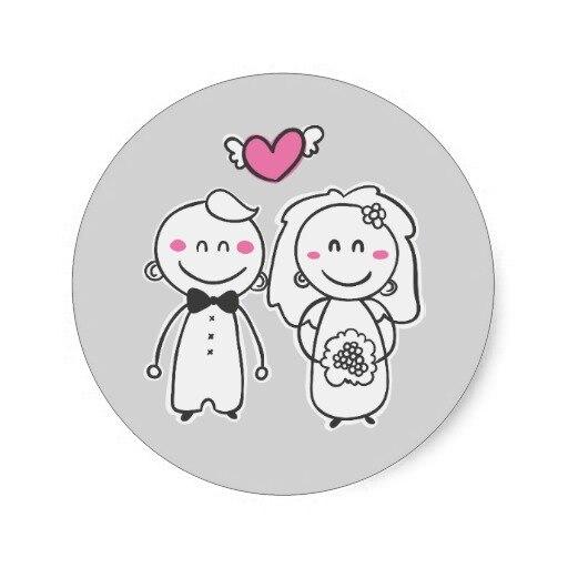 Us 19 5 3 8 Cm Pink Abu Abu Pengantin Kartun Pengantin Stiker Segel Di Stiker Dari Rumah Taman Aliexpress Com Alibaba Group