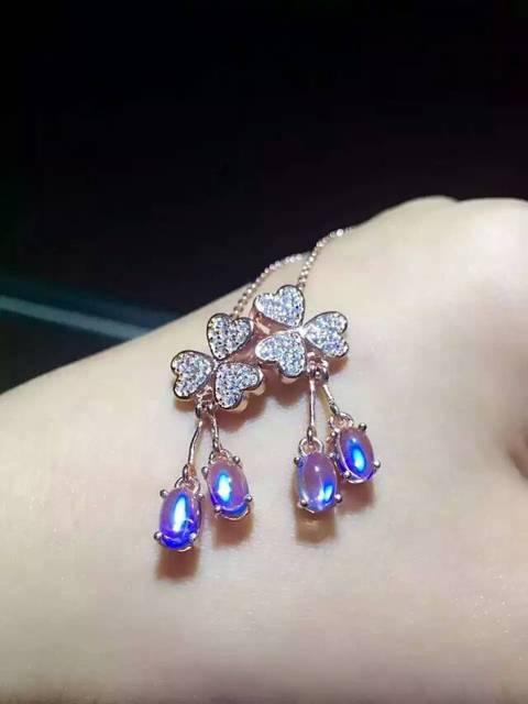 Natural azul piedra de luna colgante s925 Natural Colgante de piedras preciosas Collar de moda Elegante Del Trébol de las mujeres de partido de la muchacha de la joyería