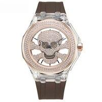 Новый полые женские часы модные женские кварцевые часы женские череп Водонепроницаемый Таблица силиконовый браслет девушка часы лучший бр