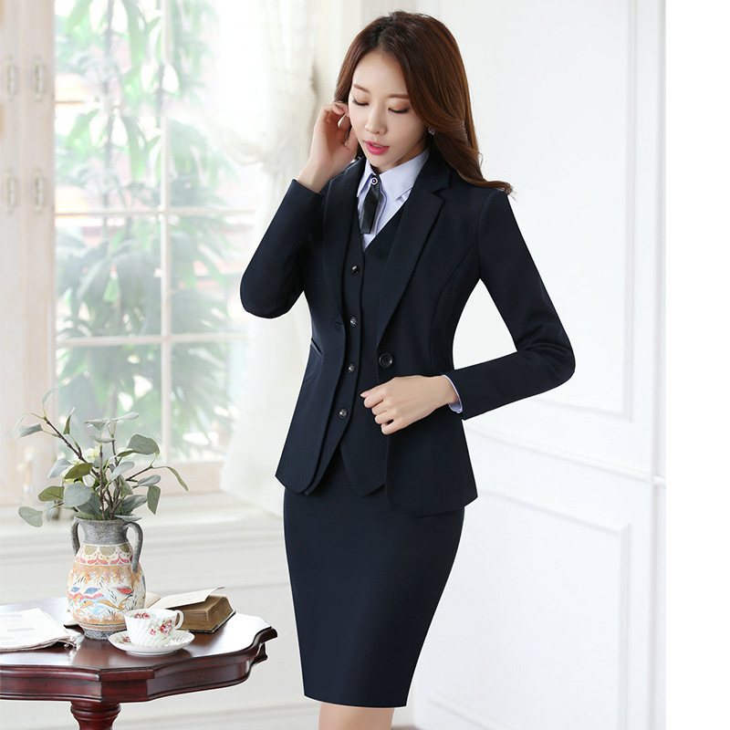 Fashion Business Office Blazer Women Work Suit Set Blue Jacket Vest Blazer Trousers Pantsuit For Women Autumn Winter 2017 Suits & Sets