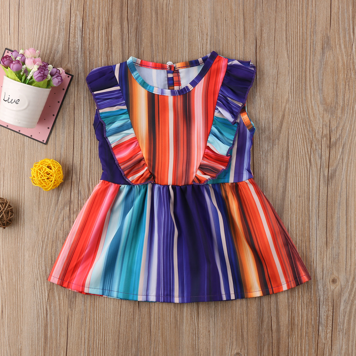 Fashion Summer Kids Baby Girl Rainbow Princess A-line Dress Fly Sleeve Party Pageant Prom Sundress Cotton Clothes 2017 new summer children girl long sleeve lace dress kids clothes cotton child party princess tank girl dress sundress age 2 10y