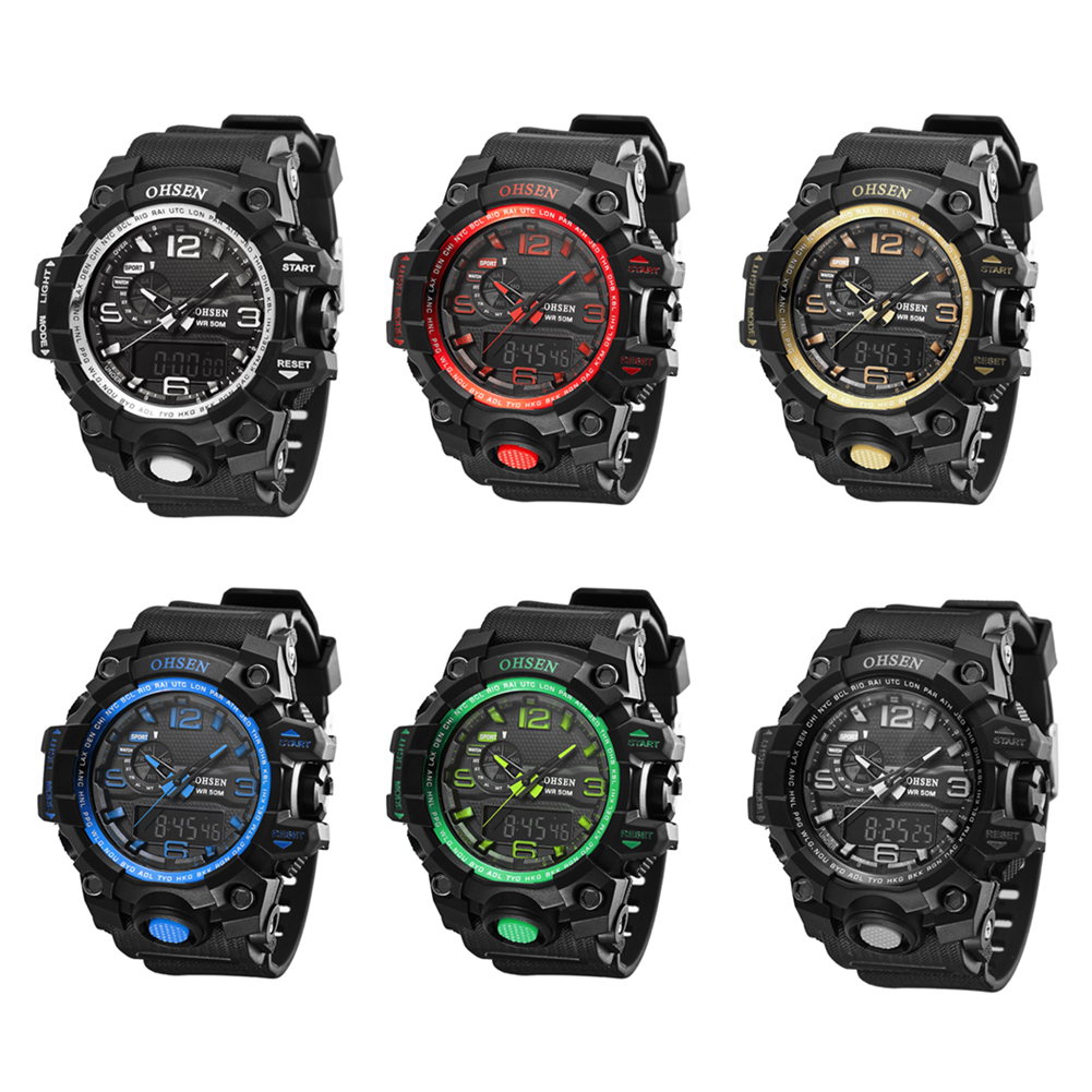 100% Good Feedback OHSEN Quartz Watch,Waterproof Outdoor Watches Sport Watch Digital Chronograph Watch for Men ohsen 2821 sport quartz watch blue
