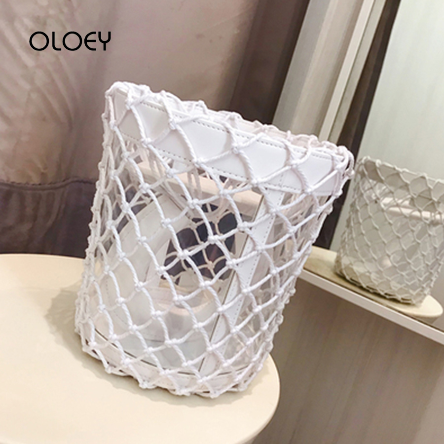 PU Clear PVC Hollow Out Bucket Bags Women Handbags Summer Mesh Jelly Totes Bags Design Woven Bag for Women 2019 Lady Clutch Pure