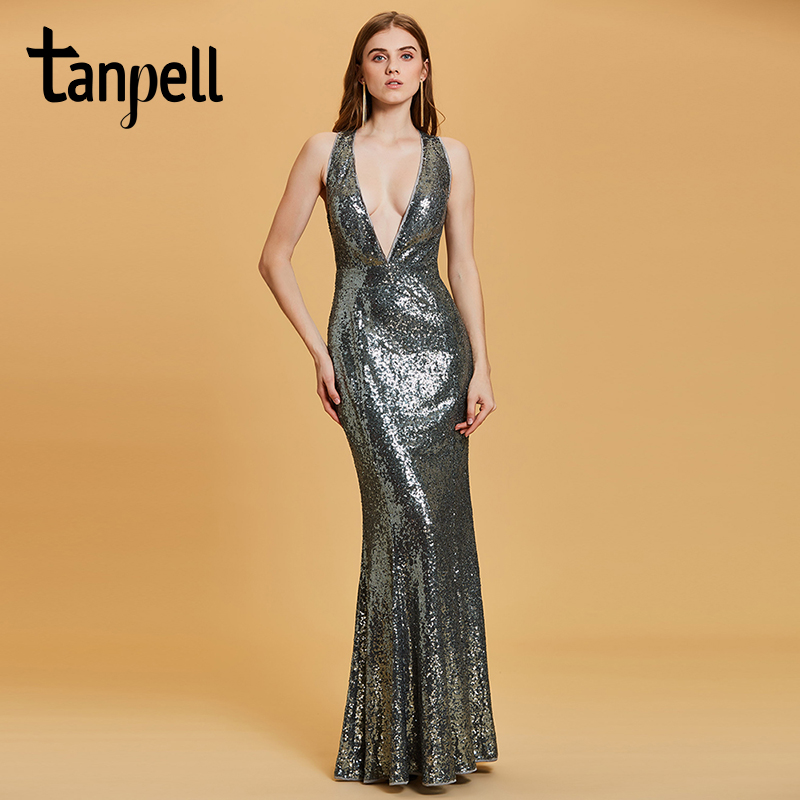 Tanpell sexy v neck evening dress gray sleeveless floor length gown women prom party sequins long