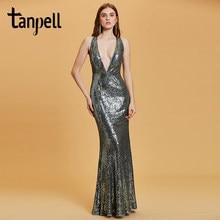 2975c09d5a67 Tanpell sexy v pescoço vestido de noite cinza sem mangas até o chão vestido  de mulheres