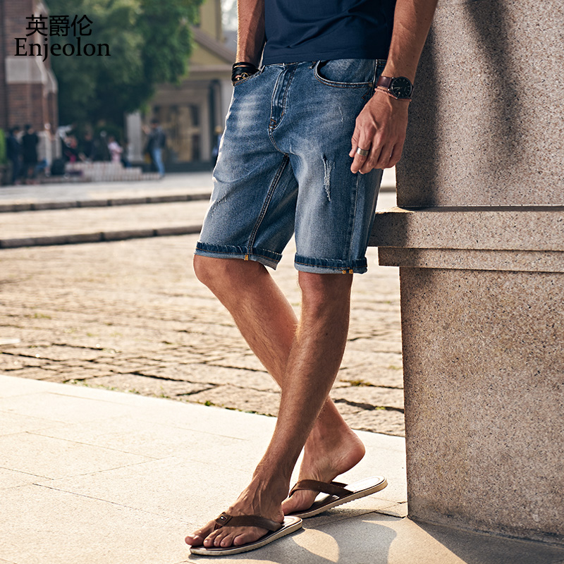 Enjeolon brand top 2017 new high-quality knee length jeans pants,fashion Slim Straight jeans males Causal Pants NZ040