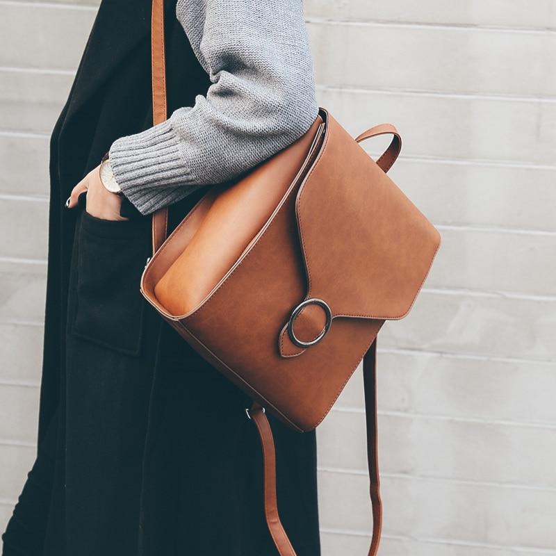 Fashion Women Backpack Pu Leather Retro Female Bag Schoolbags Teenage Girl High Quality Travel Books Rucksack Shoulder Bags #1