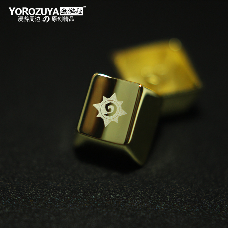1pc Golden Metal Key Cap For Hearthstone Mechanical Keyboard Cap R4 Height Vacuum Electroplating Laser Radium Carving