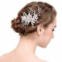 Pearl Kwiat Do Włosów Grzebienie dla Wielki Kwiat Panie Krystalicznie Białe Szpilki Do Włosów Ślubne Dla Nowożeńców Włosów Akcesoria Perły Biżuteria