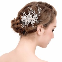Pearl Flower Hair Combs for Bridal Big Flower Ladies Crystal White Hair Pins Wedding Hair Accessories Pearls Jewelry