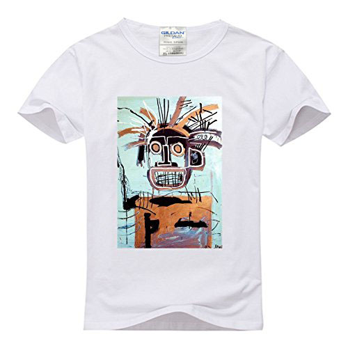 Mens Classic 100% Cotton T-Shirt With Jean Michel BasquiatPrint T-Shirt Mens Short T-Shirt Summer Novelty Cartoon T Shirt