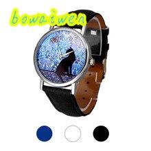Bowaiwen #0055 женщина часы Cat Pattern Кожаный Ремешок Аналоговый Кварц Vogue Наручные Часы