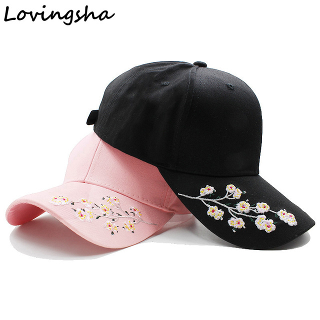Lovingsha Wholesale Floral Female Baseball Cap Snapback Hat Summer Cap  Spring Cotton Cap For Girl Fitted Cap Women Cheap Hats ecbb62e170d