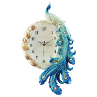 European Style Elegant Peacock Resin Wall Clock Modern Mute Digital Needle Quartz Clock Watch Diamond Feather Decoration Decor