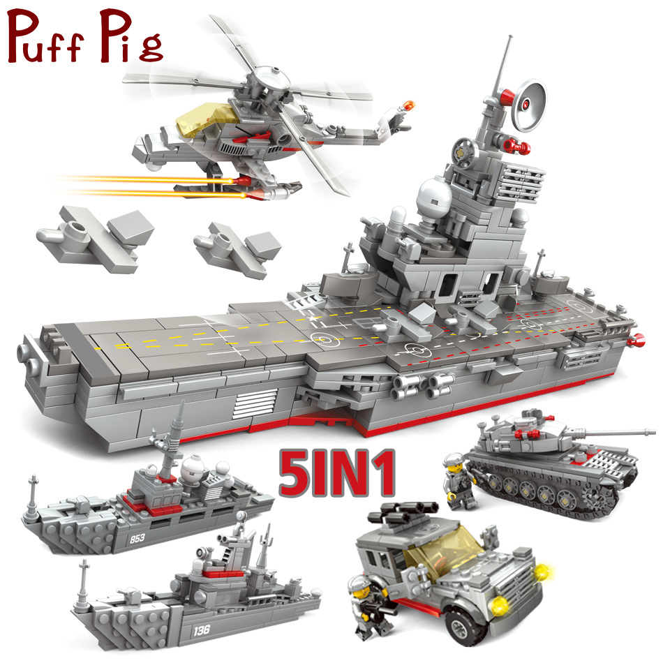 861PCS 5in1 Aircraft Ship Carrier Model Military Tank Helicopter Navy Soldiers Compatible Legoed Army ww2 Building Blocks Toys