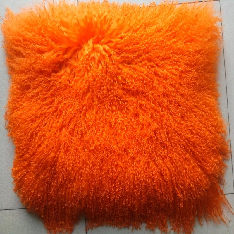 Fur Throw Pillow Covers : Dye Orange Mongolian Fur Pillow Cover Decorative Pillows New Chair Almofadas Fur Cushion Cover ...