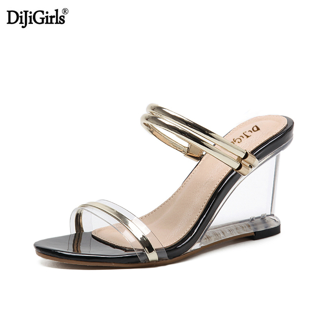 High heels Gladiator sandals women clear heels wedge sandals sexy crystal transparent  heel shoes vogue summer