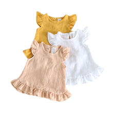 Pretty Ruffle Sleeve Summer Girls Blouses Tops Linen Cotton Lace Casual Baby Girl Shirts for Kids Clothing недорого