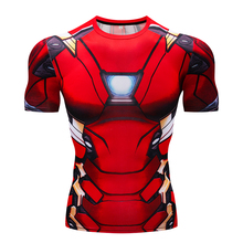 Casual fitness men's t-shirt 3D Superhero Iron Man compression shirt Short sleeve fitness t-shirt Summer fashion fitness t-shirt(China)