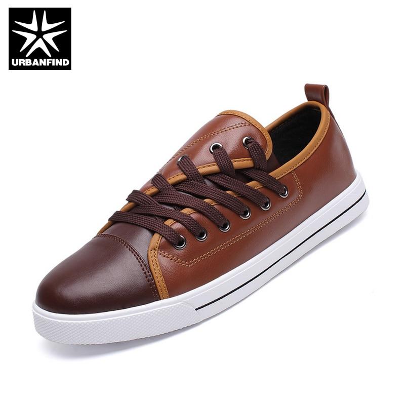 URBANFIND Shoelace Decor Men PU Leather Casual Shoes EU 39-44 British Style Lace up Men Fashion Shoes Black / White / Brown