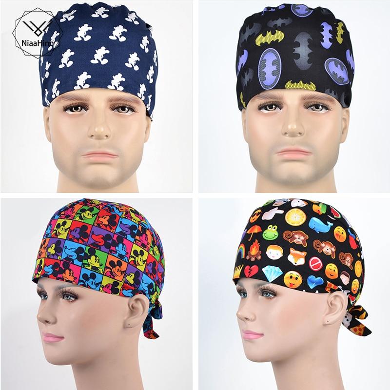 Men's Scrub Caps Printed Beauty Salon Nurse Working Cap Dental Hospital Doctor Medical Accessories Cotton Material Surgical Caps