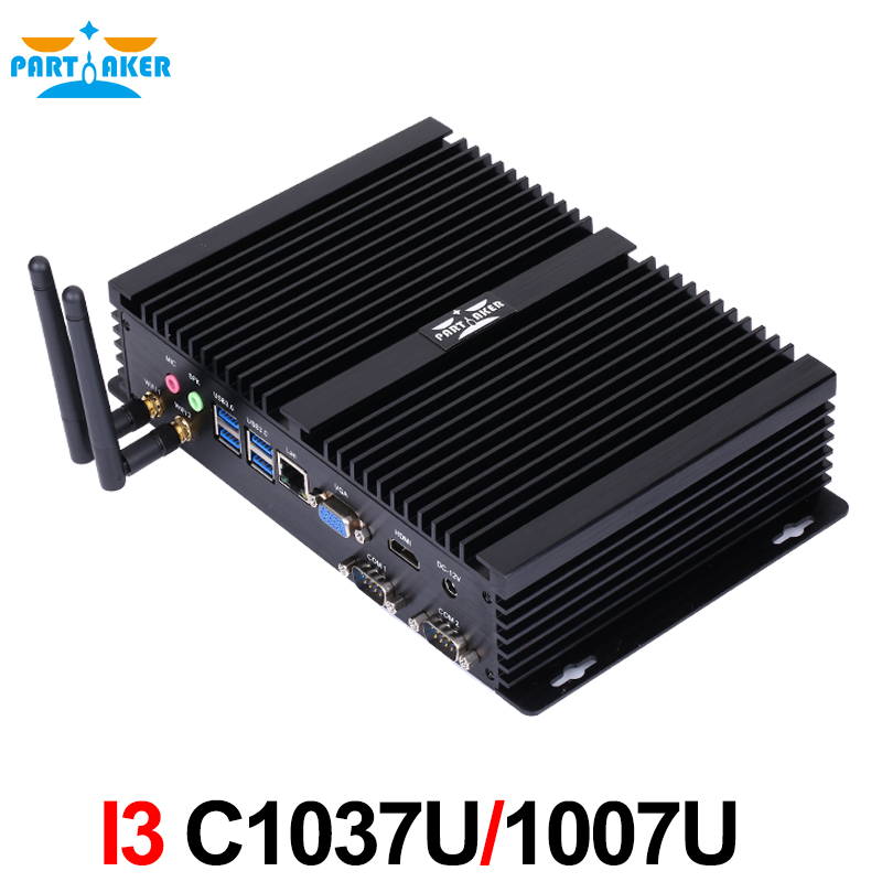 Partaker I3 Mini Computer Fanless Mini PC Windows 10 Core C1037U or C1007U 2*COM industrial PC Rugged PC