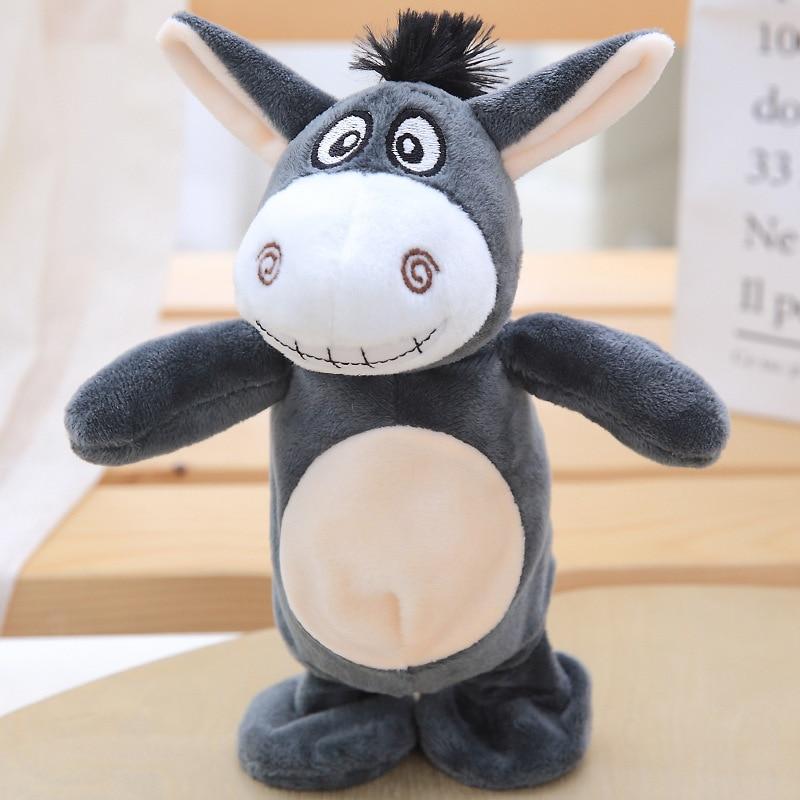Burro juguetes forma de peluche juguetes de peluche de felpa juguetes Adorable burro hablar de sonido registro repetir Animal Kawaii