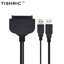 TISHRIC 2017 Super Speed USB 3.0 to 7 15 22Pin SATA Cable Adapter External USB Power for 2.5'' SATA III SSD HDD Hard Disk Drive