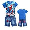 A nova primavera e verão 2016 Homem Aranha dos desenhos animados crianças roupas terno T-shirt e jeans da moda shorts do menino dos desenhos animados quente