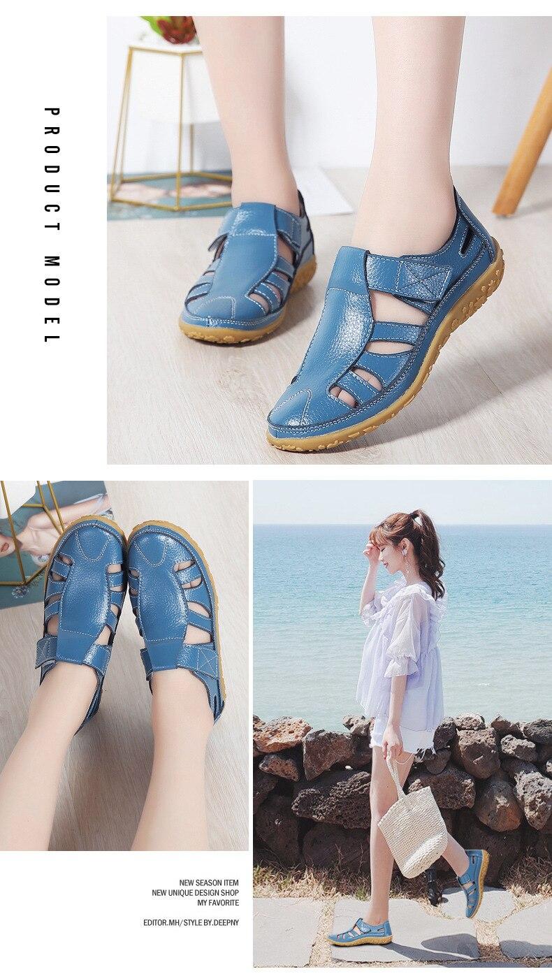 HTB147jBLr2pK1RjSZFsq6yNlXXaI 2019 Women Gladiator Sandals Shoes Genuine Leather Hollow Flat Sandals Ladies Casual Soft Bottom Summer Shoes Women Beach Sandal