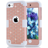 For Apple IPod Touch 5 Case Rhinestone Hybrid Impact Three Layer Silicon Rubber Protective Cover Skin